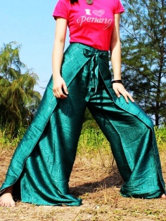 thai silk yoga pants fisherman hippie pants wrap gypsy pants plus size women pants art on fabric-t54222