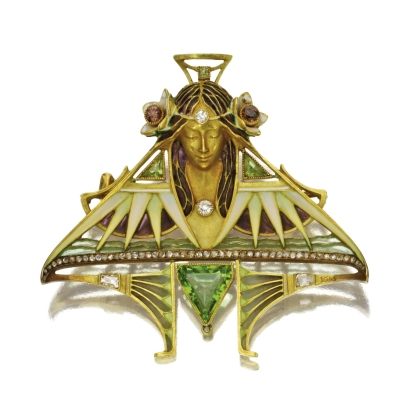ART-NOUVEAU-18-KARAT-GOLD-AND-ENAMEL-GEM-SET-BROOCH-L.-GAUTRAIT-CIRCA-1900-Photo-courtesy-of-Sothebys