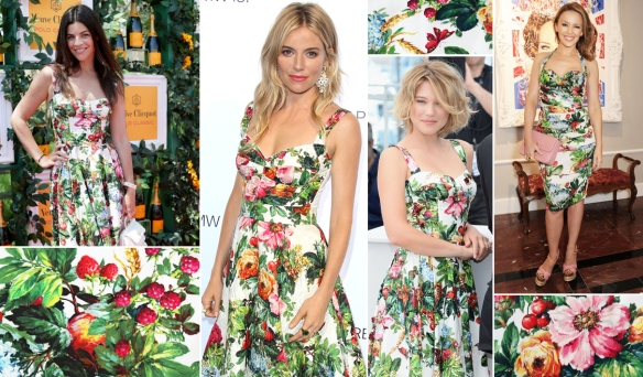 Sienna-miller-and-kylie-minogue-wear-dolce-and-gabbana-FW14-flower-print-dress