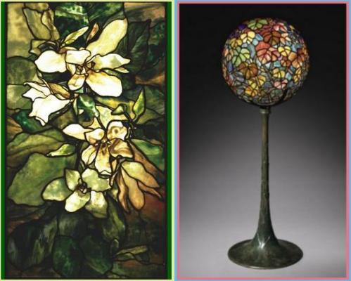 magnolia-window-lead-stained-glass-1900-autumn-leaf-globe-lamp-favrile-glass-bronze-tiffany-studios