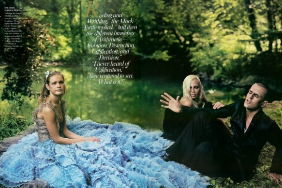 Atelier Versace layered silk-tulle and chiffon-organza dress lined in lace Donatella Versace and Rupert Everett as the Gryphon and the Mock Turtle