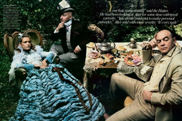 Christian Lacroix Haute Couture dress with painted and sculpted mint dickey over lace top and frilled lame skirt Stephen Jones and Christian Lacroix as the Mad Hatter and the March Hare