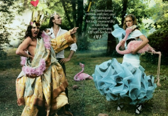 Dior Haute Couture hand-painted polka-dot dress John Galliano as the Queen of Hearts and Alexis Roche as his king