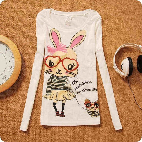 2012-New-Arrival-Korean-Japan-women-s-fashion-Long-sleeved-rabbit-printed-t-shirt-lady-elegant