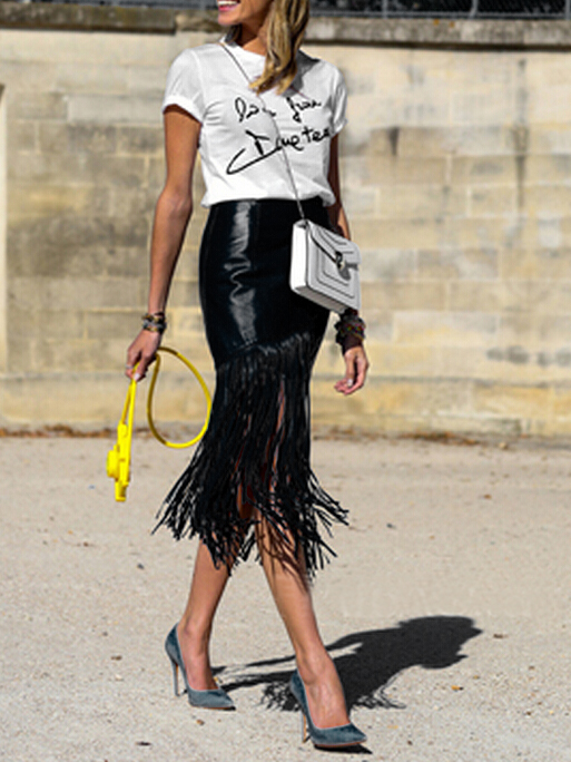 Choies fringe skirt