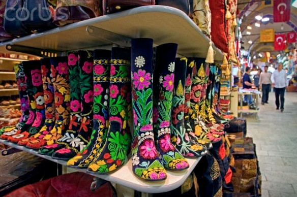 Colorful boots for sale in the Grand Bazaar, Istanbul, Turkey