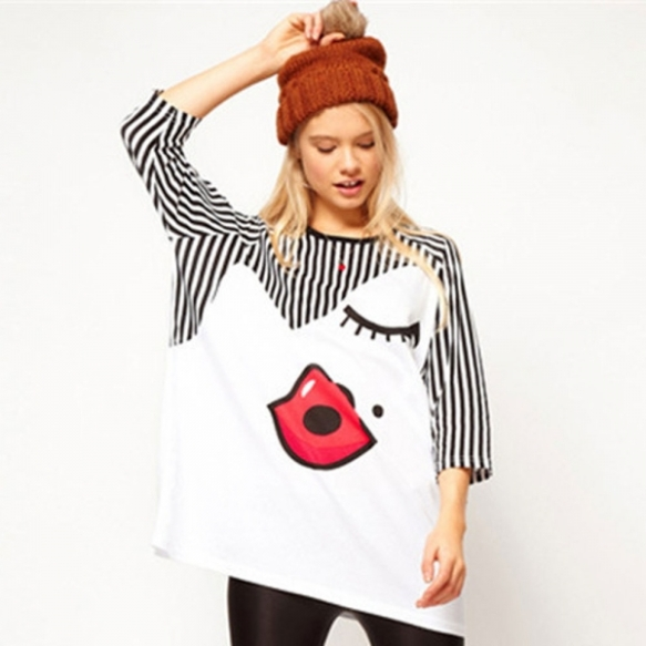 Euramerican-Style-Loose-Cute-Lip-Pattern-Short-Sleeve-Women-Tshirt-White-Free-Size_3_600x600_original
