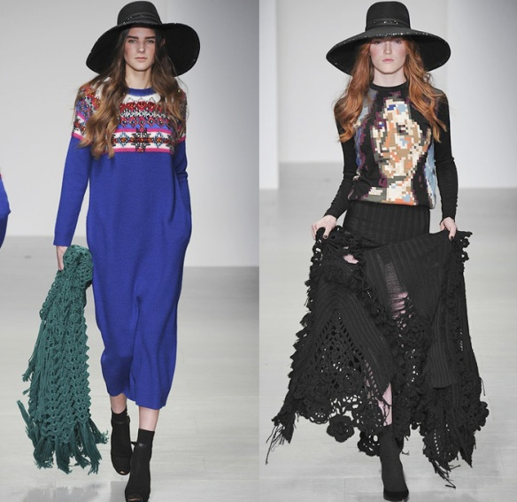 sister-by-sibling-2014-2015-fall-autumn-winter-womens-runway-london-fashion-week-denim-jeans-ruffles-knit-crochet-turtleneck-frayed-palazzo-pants-boho-gothic-06x sister by sibling